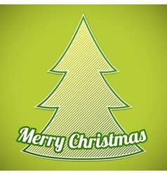 Green striped Christmas tree on green background vector image