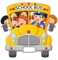 Happy children on school bus vector image vector image