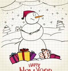 happy snowman with gifts vector image vector image