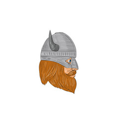 viking warrior head right side view drawing vector image vector image