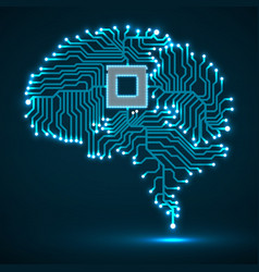 abstract technological glowing brain vector image