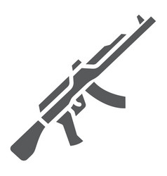 Ak47 glyph icon rifle and military machine gun vector