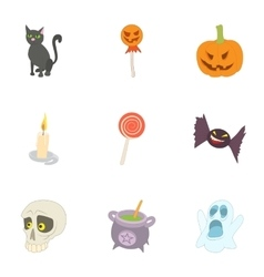 All saints day icons set cartoon style vector image