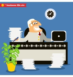 American boss at the desk vector image