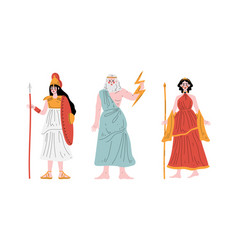 Ancient greek god with zeus holding lightning bolt vector