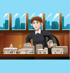 architect working in the office vector image