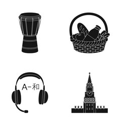 art translation and or web icon in black style vector image