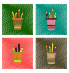 assembly flat shading style icons pencils in stand vector image