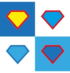 Blank super hero badge set vector
