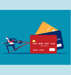 Business man and committed debt with credit card vector