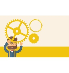 Businessman holding up gears vector