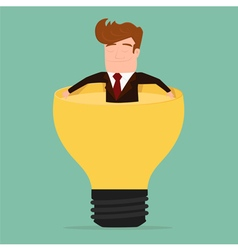 Businessman relax and soaking in lightbulb idea vector