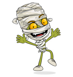 cartoon funny green egyptian mummy boy character vector image