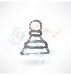 Chess pawn grunge icon vector