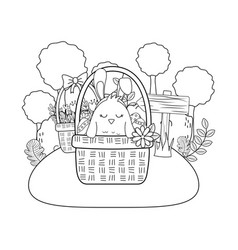 chick with ears rabbit in basket and eggs painted vector image
