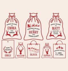 Christmas bags and tags set bags vector