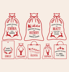 christmas bags and tags set christmas bags and vector image