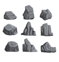 Collection of mountain stones with lights and vector