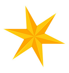 colorful cartoon 6 point golden star vector image