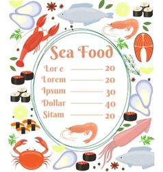 Colorful seafood menu poster vector image