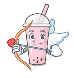 Cupid raspberry bubble tea character cartoon vector