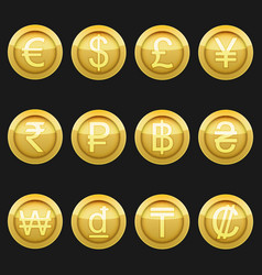 Currency coins metallic golden with highlights set vector