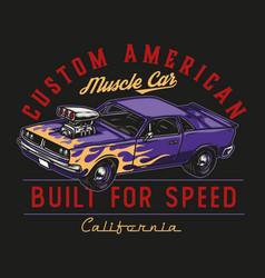 Custom car vintage colorful badge vector