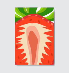 cut strawberry template card slice fresh fruit vector image
