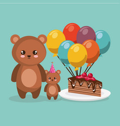 cute bear teddy with balloons helium and cake vector image