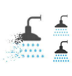 Disappearing pixel halftone shower icon vector