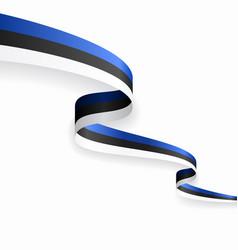 estonian flag wavy abstract background vector image