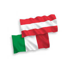 Flags italy and austria on a white background vector