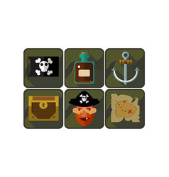 flat set pirate game icons black flag vector image