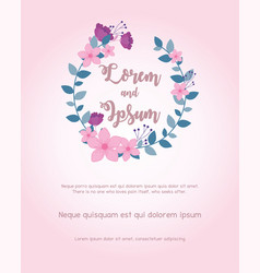 flowers wedding wreath flowers leaves invite card vector image