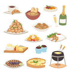 French cuisine traditional food delicious meal vector
