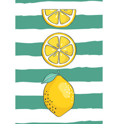 fresh lemons background vector image