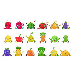 Fruit and berries cute girly characters sitting vector