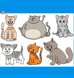 funny cartoon cats and kittens characters set vector image