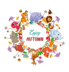 Goodbye summer Hello autumn with animals ground vector