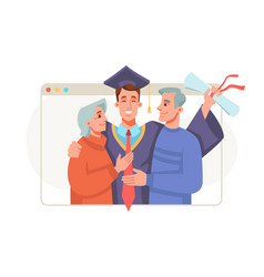 Graduate with parents online graduation ceremony vector