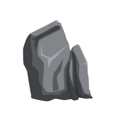 Gray solid stone mountain rock natural vector