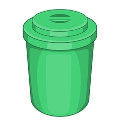 Green plastic cup icon cartoon style vector