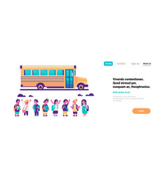 Group pupils children over yellow school bus vector