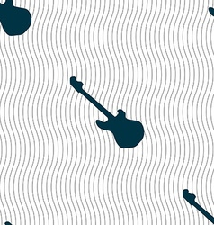 Guitar icon sign Seamless pattern with geometric vector image