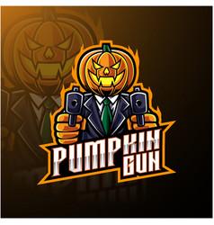 Halloween pumpkin with gun mascot logo design vector
