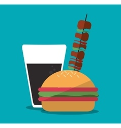 Hamburger and icon set of fast food concept vector image
