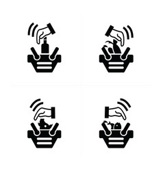 hand and shopping cart icon set vector image