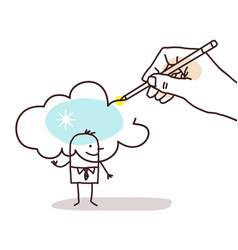 Hand drawing a sunny cloud on a cartoon man vector