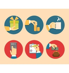 Hands with object icons vector