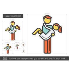 Happy couple line icon vector
